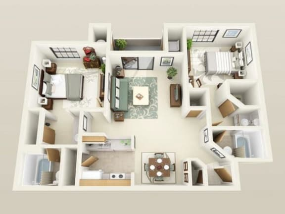 Floor Plan  WinthropUpgraded960sf FloorPlan at Sky Court Harbors at The Lakes Apartments, Las Vegas, NV, 89117