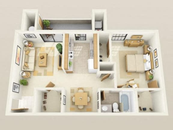 Floor Plan  Westport Mini Upgraded1004sf FloorPlan at Sky Court Harbors at The Lakes Apartments, Las Vegas