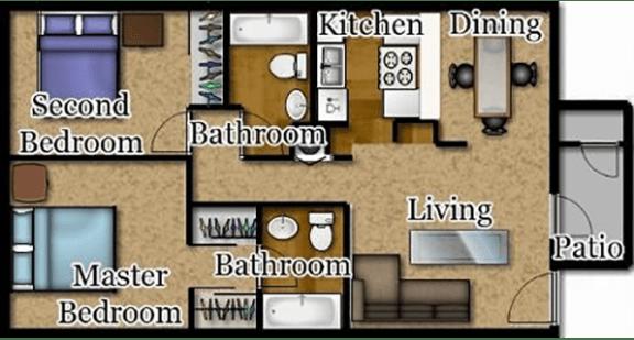 Floor Plan  El Encanto two bedroom floor plan.