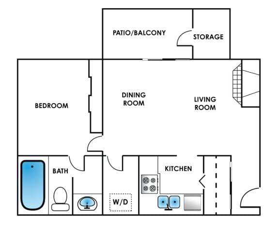 Floor Plan  One Bedroom Floor Plan at Bonterra Lakeside Apartments, Colorado Springs, Colorado