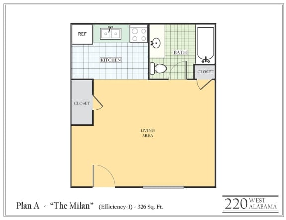 Floor Plan  Studio apartment featuring a full kitchen and bathroom approximately 326 square feet, Floorplan is an artist rendering and all dimensions are approximate, Actual units vary in dimension and detail. Not all features are available in every unit. Prices and availability are subject to change without notice. Please call a representative for details