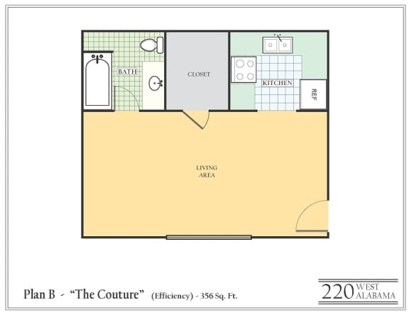 Floor Plan  Studio apartment featuring a full kitchen and bathroom approximately 356 square feet, Floorplan is an artist rendering and all dimensions are approximate, Actual units vary in dimension and detail. Not all features are available in every unit. Prices and availability are subject to change without notice. Please call a representative for details