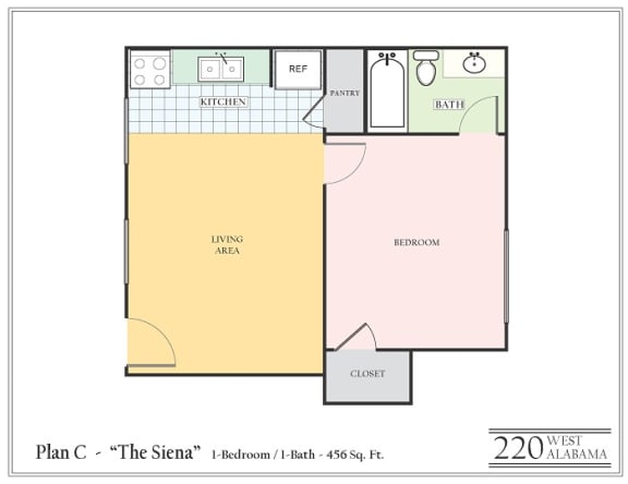 Floor Plan  One bedroom one bathroom apartment featuring a full kitchen and bathroom approximately  456 square feet, Floorplan is an artist rendering and all dimensions are approximate, Actual units vary in dimension and detail. Not all features are available in every unit. Prices and availability are subject to change without notice. Please call a representative for details