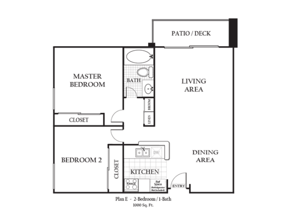 Floor Plan  Two Bedroom Two Bathroom featuring a living room, full kitchen and bathroom approximately 1000 square feet, Floorplan is an artist rendering and all dimensions are approximate, Actual units vary in dimension and detail. Not all features are available in every unit. Prices and availability are subject to change without notice. Please call a representative for details