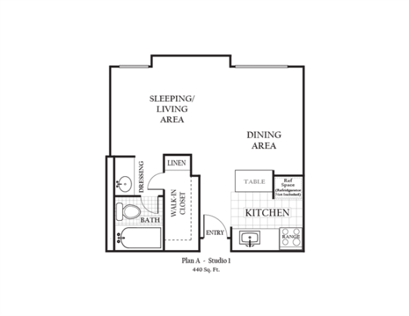 Floor Plan  Studio apartment featuring a full kitchen and bathroom approximately 440 square feet, Floorplan is an artist rendering and all dimensions are approximate, Actual units vary in dimension and detail. Not all features are available in every unit. Prices and availability are subject to change without notice. Please call a representative for details