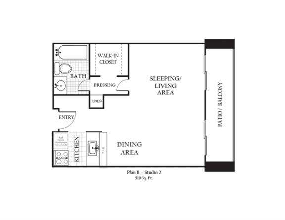 Floor Plan  Studio apartment featuring a full kitchen and bathroom approximately 510 square feet, Floorplan is an artist rendering and all dimensions are approximate, Actual units vary in dimension and detail. Not all features are available in every unit. Prices and availability are subject to change without notice. Please call a representative for details