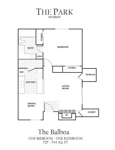 Floor Plan  1Bed1Bath-B