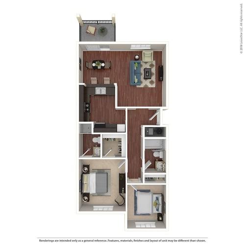 Floor Plan  2BR/2BA A 2 Bed 2 Bath Floor Plan at Crooked Oak at Loma Verde Preserve, California, 94949