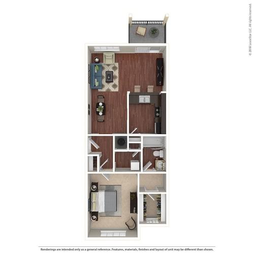 Floor Plan  1BR/1BA B 1 Bed 1 Bath Floor Plan at Crooked Oak at Loma Verde Preserve, Novato, CA, 94949