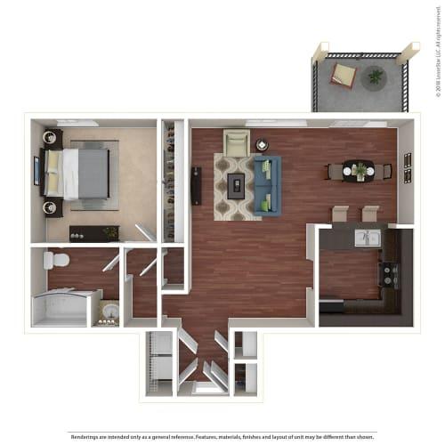 Floor Plan  1BR/1BA C 1 Bed 1 Bath Floor Plan at Crooked Oak at Loma Verde Preserve, Novato, 94949