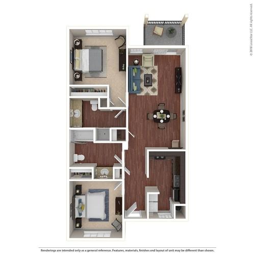 Floor Plan  2BR/2BA D 2 Bed 2 Bath Floor Plan at Crooked Oak at Loma Verde Preserve, Novato