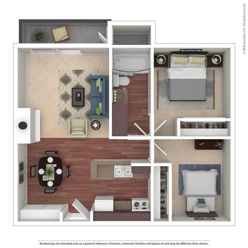 Floor Plan  2BR/1BA 2 Bed 1 Bath Floor Plan at Chatsworth Pointe, California, 91304