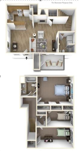 Floor Plan  Springfield, OR Brentwood Estates Brentwood 3 bedroom 2 baths