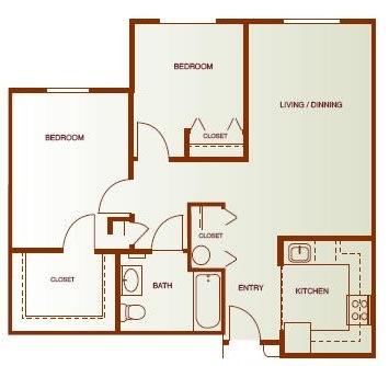 Floor Plan  Two-Bedroom