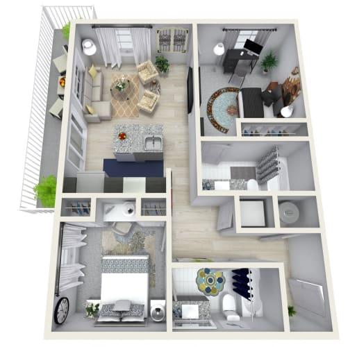 Floor Plan  2 Bedroom 2 Bath 989 sqft (H) Floor Plan at Channel Club Apartments, Florida