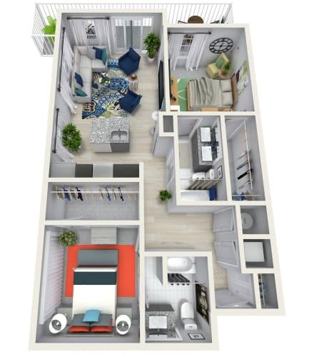 Floor Plan  2 Bedroom 2 Bath 1280 sqft (L) Floor Plan at Channel Club Apartments, Florida, 33602