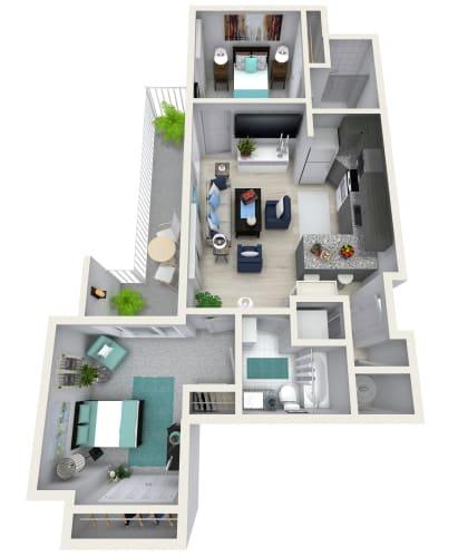 Floor Plan  2 Bedroom 2 Bath 1140 sqft (M) Floor Plan at Channel Club Apartments, Tampa, FL, 33602