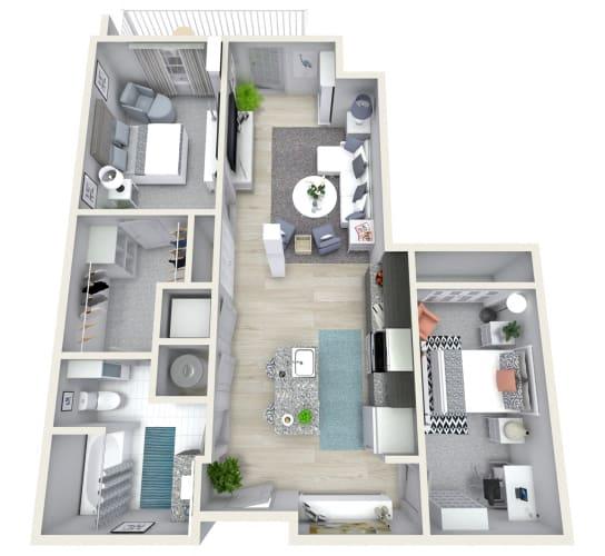 Floor Plan  1 Bedroom 1 Bath 1067 sqft (R) Floor Plan at Channel Club Apartments, Tampa, 33602