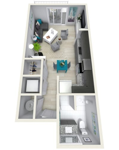 Floor Plan  Studio 511 sqft (S) Floor Plan at Channel Club Apartments, Tampa, FL