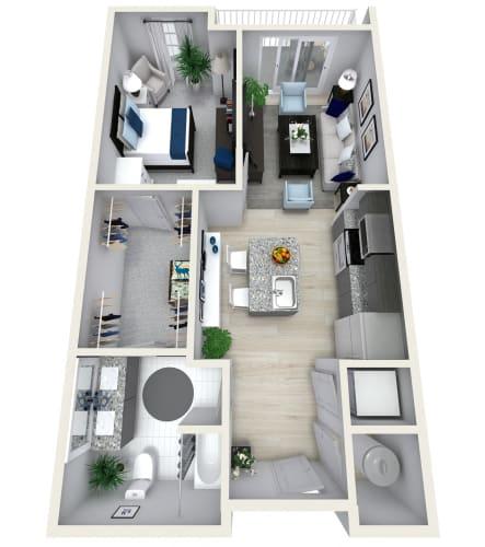 Floor Plan  1 Bedroom 1 Bath 862 sqft (V) Floor Plan at Channel Club Apartments, Florida
