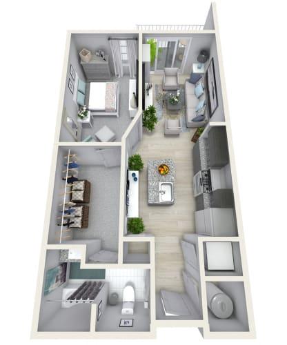 Floor Plan  1 Bedroom 1 Bath 858 sqft (Y) Floor Plan at Channel Club Apartments, Tampa, FL