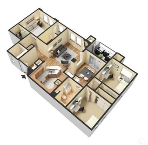 Floor Plan  Three Bedroom Floor Plan l Lesarra Apartment in El Dorado Hills Ca