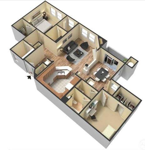 Floor Plan  Two Bedroom Floor Plan l Lesarra Apartment in El Dorado Hills Ca