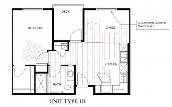 Floor Plan  OLIVERA SENIOR APTS   Floor Plan 1x1