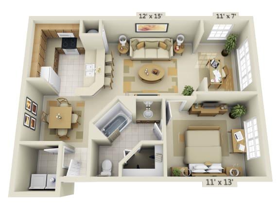 Floor Plan  1 Bedroom with Solarium