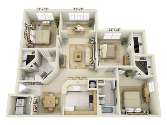 Floor Plan  3 Bedroom with Solarium