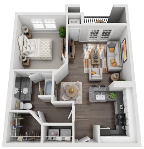 Floor Plan  3d 1 bedroom floor plan   Savannah Midtown Apartments in Atlanta, GA