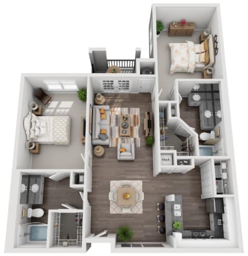 Floor Plan  3d 2 bedroom floor plan   Savannah Midtown Apartments in Atlanta, GA