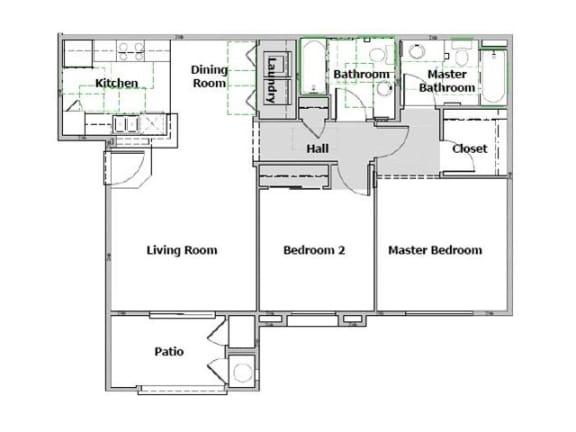 Floor Plan  Arbor Pointe 2 Bedroom floor plan, 977 square feet with a patio
