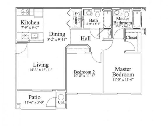 Floor Plan  2 Bedroom 2 Bath Floor Plan, 1,016 square feet with patio
