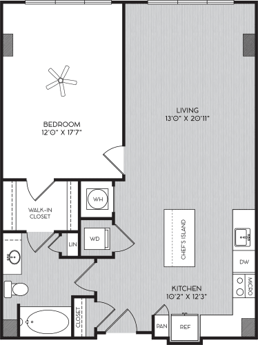 Floor Plan  A2c One Bedroom Floor Plan with No Balcony at Apartments in Vinings