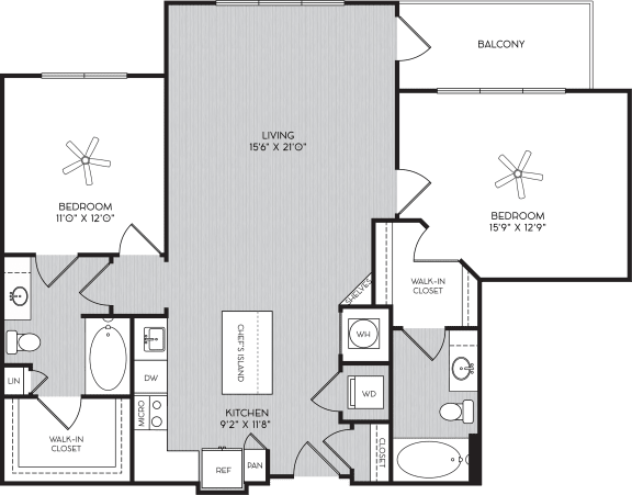 Floor Plan  B1c Two Bedroom Floor Plan with Balcony at Apartment Homes For Rent in Vinings, GA