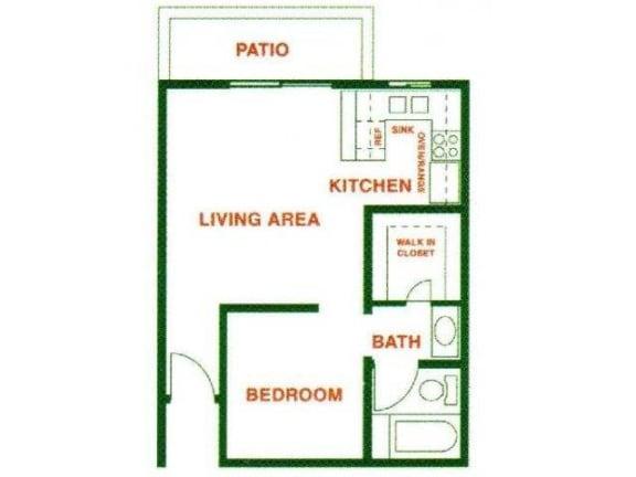 Floor Plan  One bedroom floor plan North Hollywood CA 91605 | Canyon Village Apartments