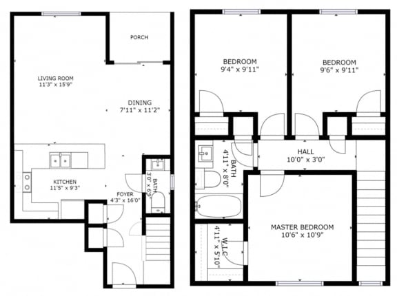 Floor Plan  evergreen townhouses Springfield, OR 3 bedroom 2 bath