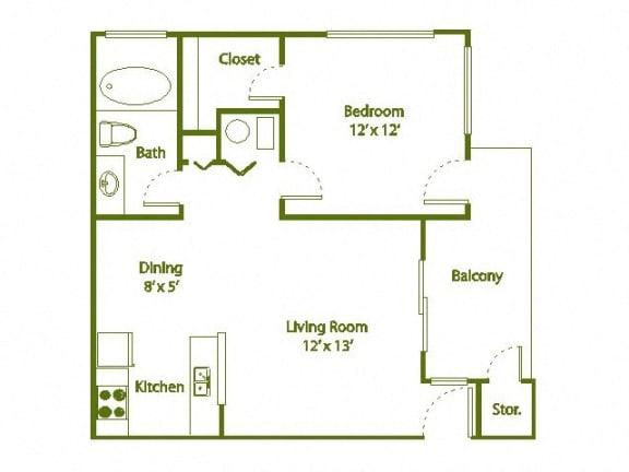Floor Plan  1 Bedroom, 1 Bath 590 sqft