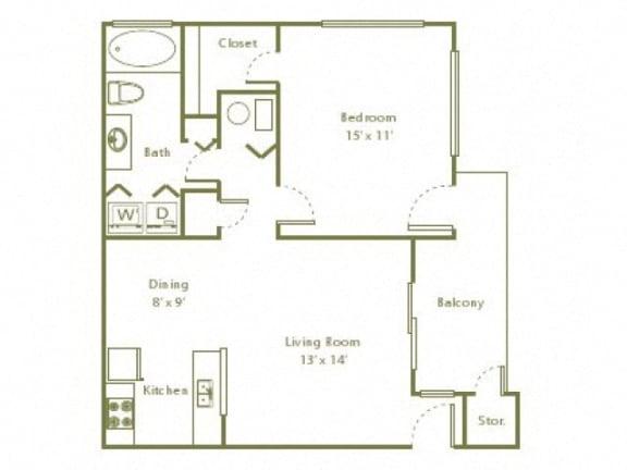 Floor Plan  1 Bedroom, 1 Bath 735 sqft