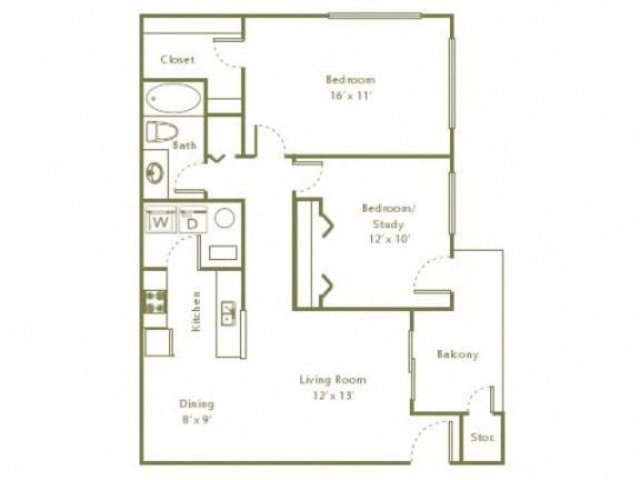 Floor Plan  2 Bedroom, 1 Bath 884 sqft