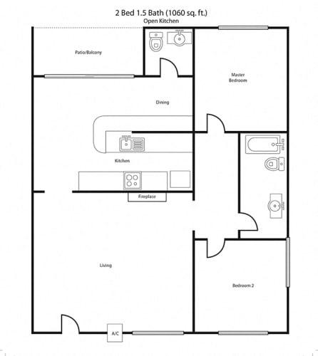 Floor Plan  2X1 Floor Plan | Villa Tramonti Apartment Homes | San Gabriel CA 91775