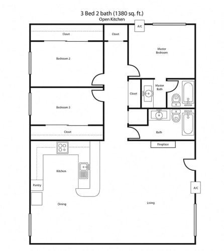 Floor Plan  3X2 Floor Plan | Villa Tramonti Apartment Homes | San Gabriel CA 91775