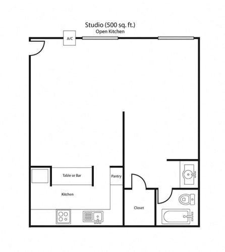Floor Plan  Large Studio Floor Plan Units | Villa Tramonti Apartment Homes | San Gabriel CA 91775