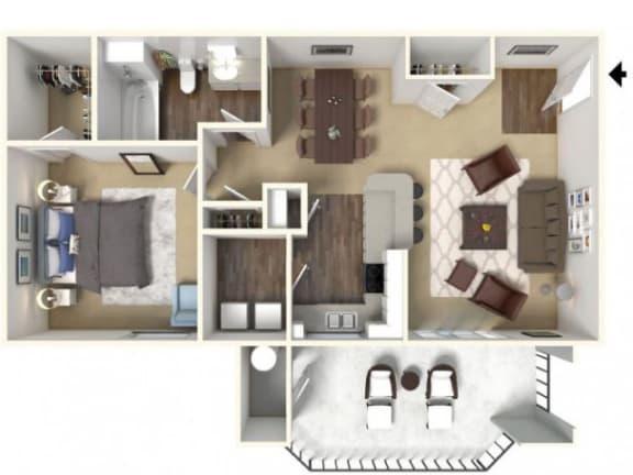 Floor Plan  One Bedroom Floor Plan l Cobble Oaks in Gold Ridge CA