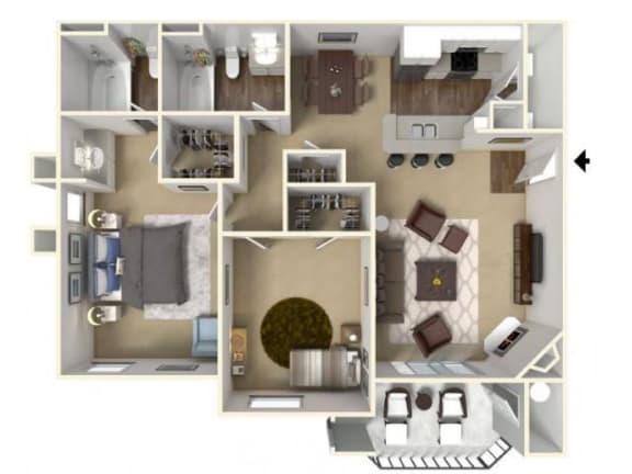 Floor Plan  Two Bedroom Floor Plan l Cobble Oaks in Gold Ridge CA