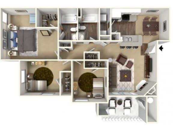 Floor Plan  Three Bedroom Floor Plan l Cobble Oaks in Gold Ridge CA