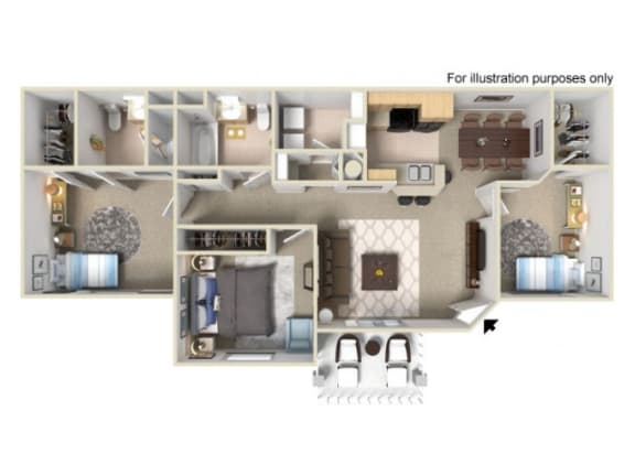 Floor Plan  Three bedroom Floor Plan l Villas at D'Andrea Apts floorplan 1