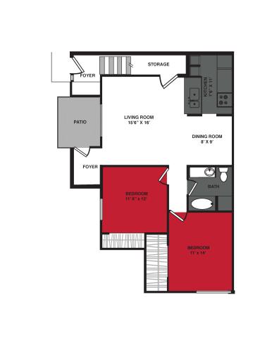 Floor Plan  2 Bed 1 Bath (1027 sq ft) Floor Plan at Stonewood Village Apartments, Wisconsin, 53714