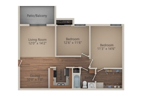 Floor Plan  2 Bed 1 Bath (900 sq ft) Floor Plan at Whisper Hollow Apartments, Maryland Heights, Missouri